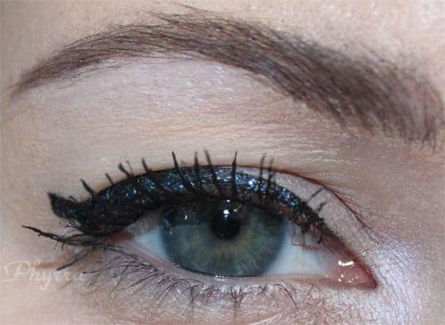 Wearing a black glitter cat eye