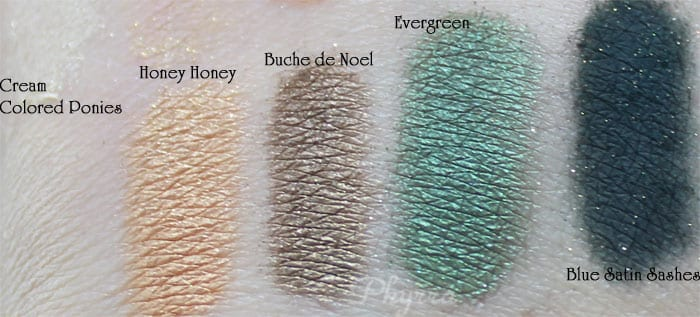 Too Faced, Cream Colored Ponies, Honey Honey, Buche de Noel, Evergreen, Blue Satin Sashes, Swatches, Video, Review