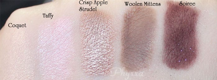 Too Faced, Coquet, Taffy, Crisp Apple Strudel, Woolen Mittens, Soiree, Swatches, Video, Review