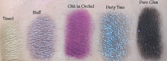 Too Faced, Tinsel, Bluff, Ohh, La Orchid, Party Time, Pure Glam, Swatches, Video, Review