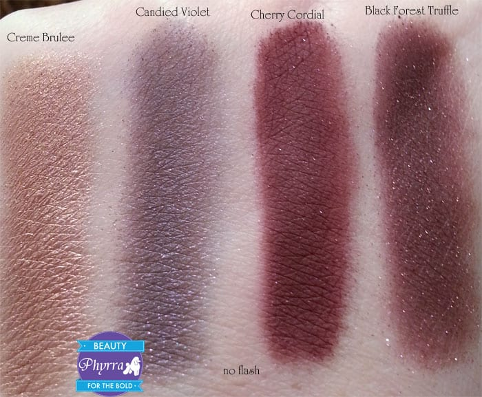 Too Faced Chocolate Bar Eye Palette Creme Brulee Candied Violet Cherry Cordial Black Forest Truffle Swatches review