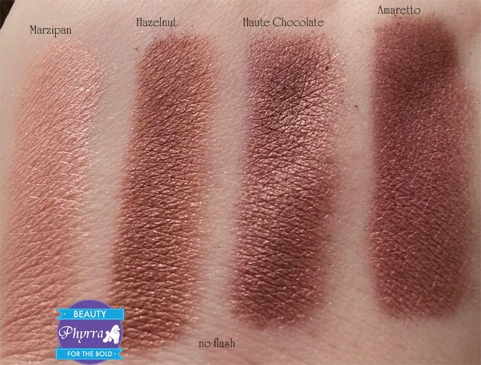 Too Faced Chocolate Bar Eye Palette Marzipan Hazelnut Haute Chocolate Amaretto Swatches review