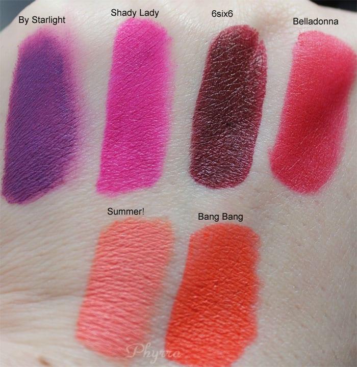 Melt Cosmetics By Starlight, Shady Lady, 6six6, Belladonna, Bang Bang, Summer! Swatches Review