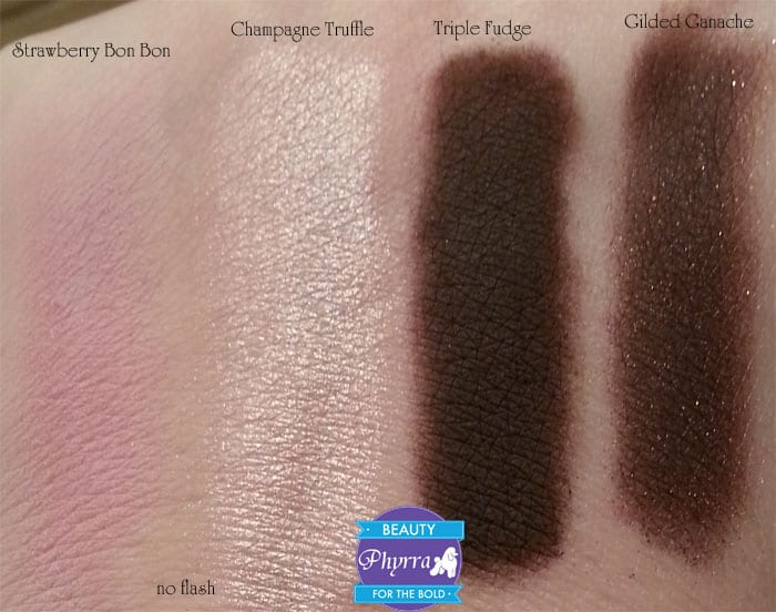 Too Faced Chocolate Bar Eye Palette Strawberry Bon Bon Champagne Truffle Triple Fudge Gilded Ganache Swatches review