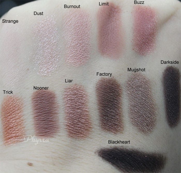 Urban Decay Naked 3 Strange Dust Burnout Limit Buzz Trick Nooner Liar Factory Mugshot Darkside Blackheart Swatches Review Video