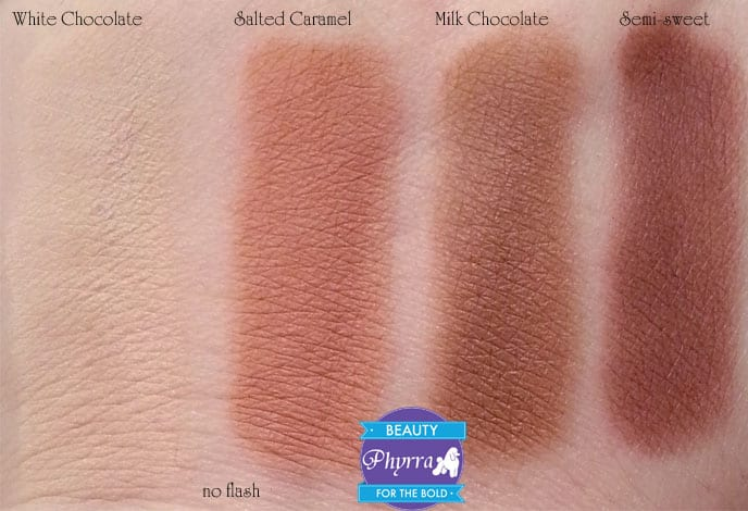 Too Faced Chocolate Bar Eye Palette White Chocolate Salted Caramel Milk Chocolate Semi-sweet Swatches review