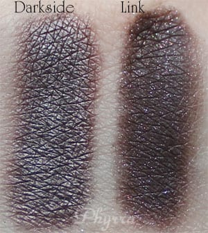 Urban Decay Darkside vs. Silk Naturals Link Clone Dupe Swatches Review