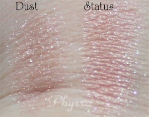 Urban Decay Dust vs. Silk Naturals Status Clone Dupe Swatches Review