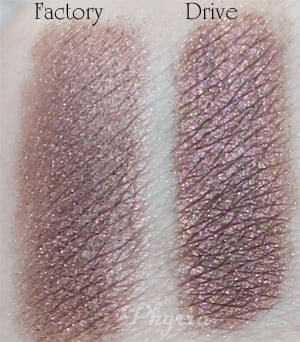 Urban Decay Factory vs. Silk Naturals Drive Clone Dupe Swatches Review