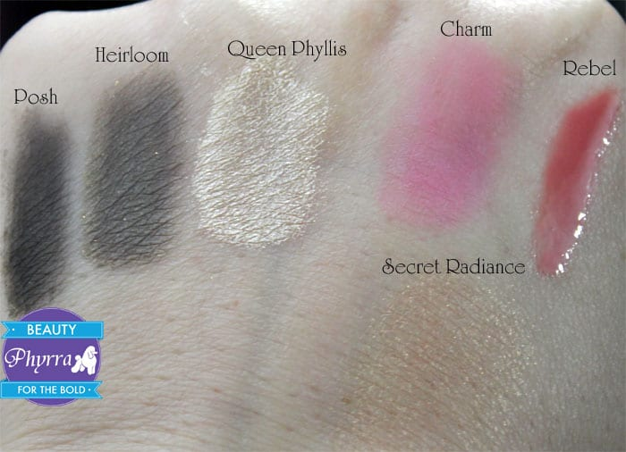 bareMinerals Simply Irresistible Queen Phyllis Heirloom Posh Midnight Charm Rebel Secret Radiance Swatches Video Review