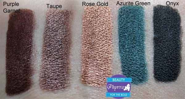 Tarte Stop & Stare Kit Onyx, Purple Garnet, Azurite Green, Rose gold, Taupe, Swatches
