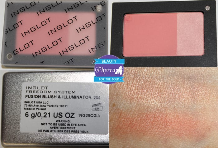 Inglot Fusion Blush 204 Swatch Review Video
