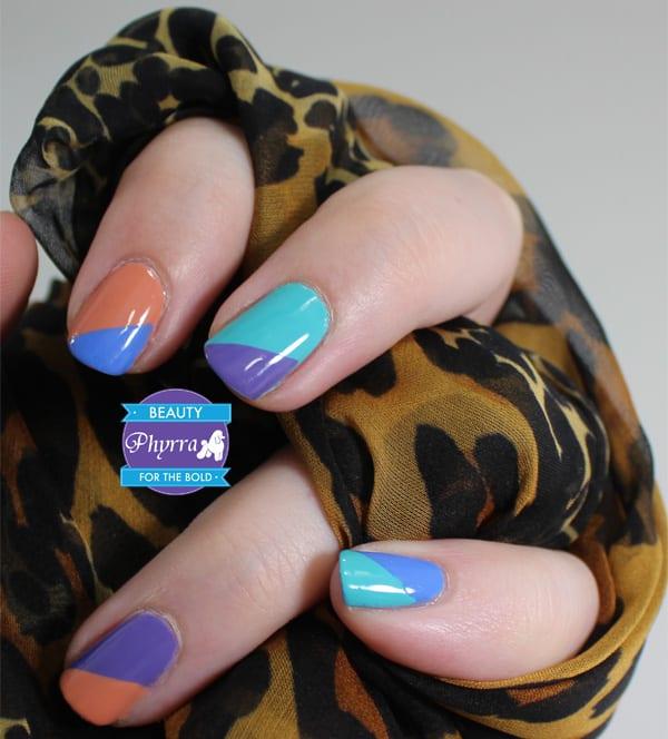 Milani Peach Innocence, Aqua Brisk, Vivid Violet, Power Periwinkle Nail Art