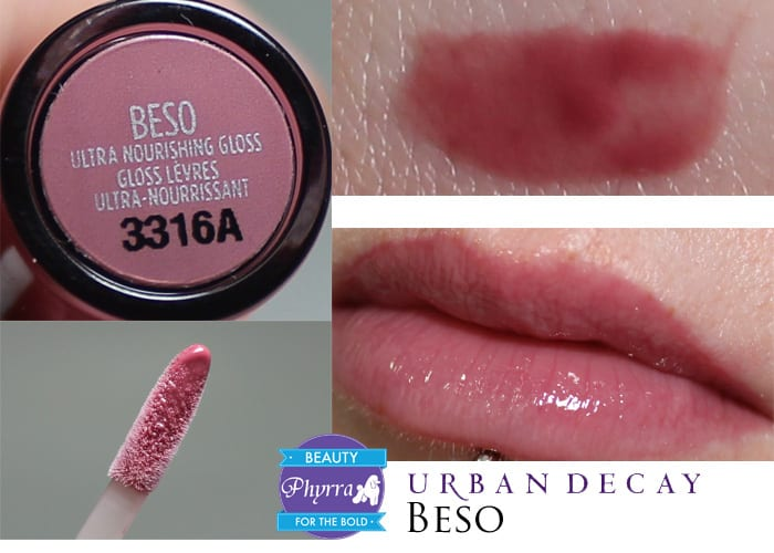 Urban Decay Naked Ultra Nourishing Lipgloss Beso Swatch Review