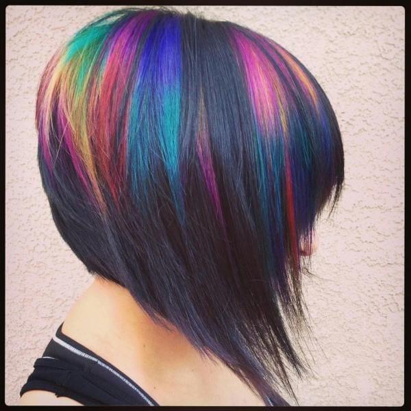 blackened rainbow angled bob by Jessica Young.