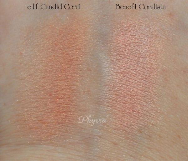 e.l.f. Candid Coral vs. Benefit Coralista