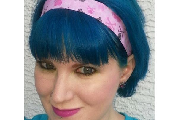 Black and Pink Crossbones Headband