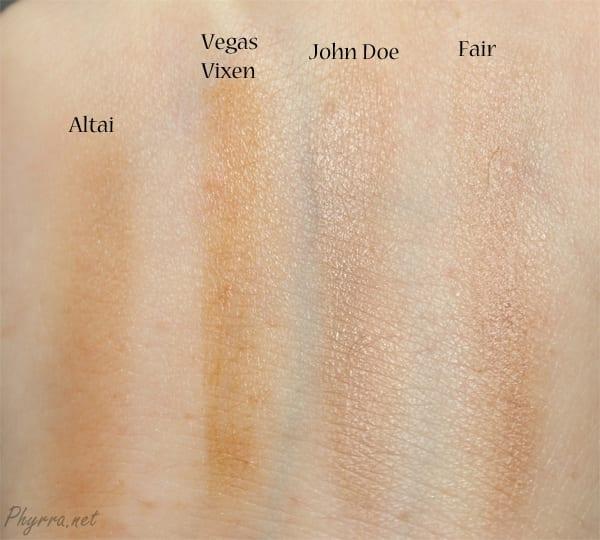 NARS Altai, Silk Naturals Vegas Vixen, OCC John Doe, em Cosmetics Fair Swatch