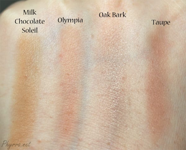 Too Faced Milk Chocolate Soliel, NARS Olympia, Pumpkin n Poppy Oak Bark, Nyx Taupe, swatch