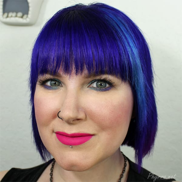 Purple and teal blue makeup