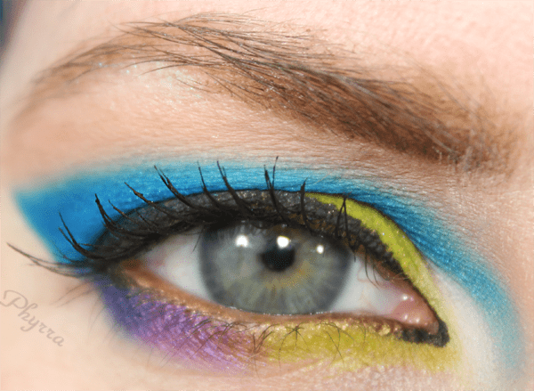 Turquoise Blue and Lime Green and Purple eyeshadow Tutorial