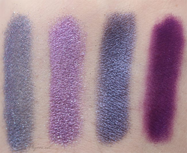 Sugarpill Weekender, Hysteric, Elemental Chaos, Poison Plum, Swatches