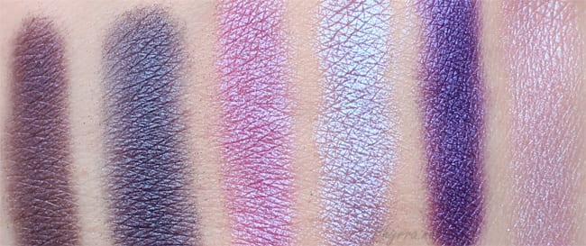 Urban Decay Freakshow, Frigid, Fishnet, Omen, Urban, Asphyxia Swatches