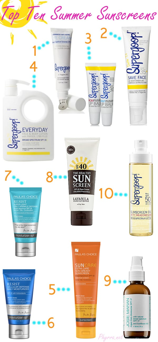 Top Ten Summer Sunscreens