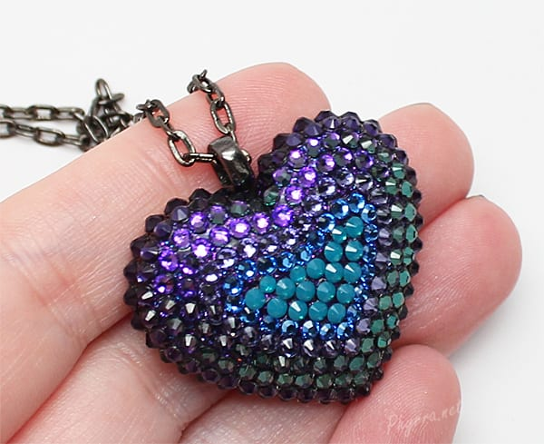Bunny Paige Purple and Teal Mini Pavèd Heart Necklace