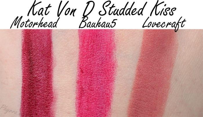 Kat Von D Studded Kiss Lipsticks in Motorhead, Bauhau5 and Lovecraft Swatches