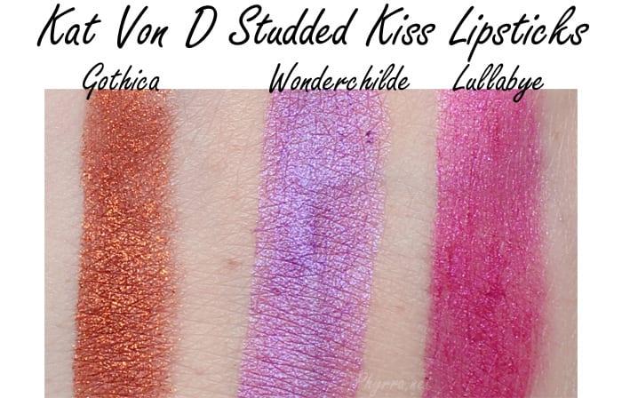 Kat Von D Studded Kiss Lipstick Swatches Gothica Wonderchilde Lullabye