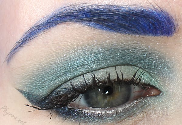 Glamour Doll Eyes Buyer's Remorse, Mermaid's Plumage, Celestial Crow, Grandiloquent look, Sugarpill Hellatronic and Velocity brows