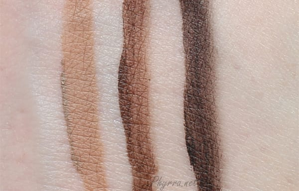 Nyx Eyebrow Gel Swatches in Blonde, Espresso and Black