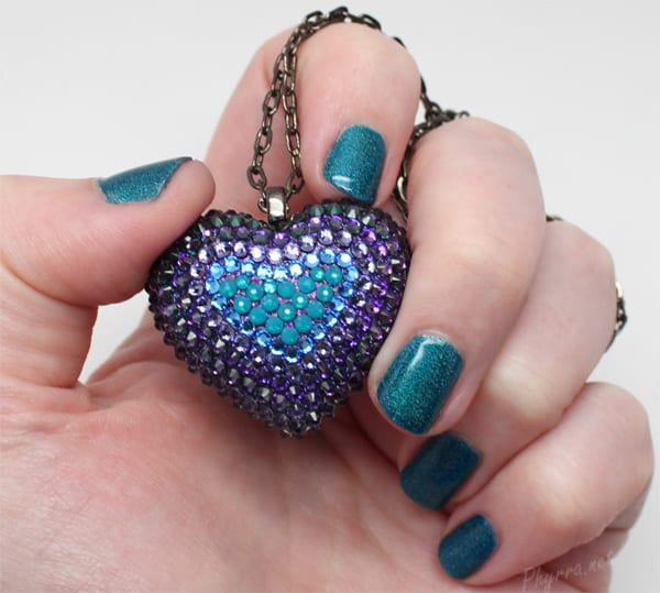 Bunny Paige Purple and Teal Mini Pavèd Heart Necklace with NCLA Teal the End