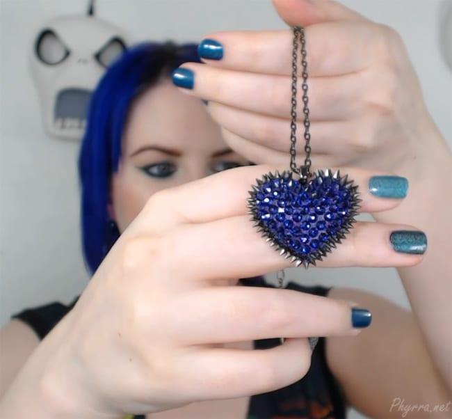 Mini Purple Paved Spiked Heart