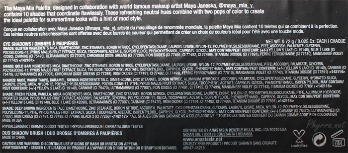 Anastasia Beverly Hills Maya Mia Palette Ingredients
