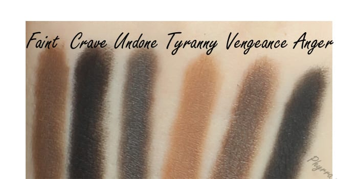 Urban Decay Faint, Crave, Undone, Tyranny, Vengeance, Anger, Swatches, Review, Comparison