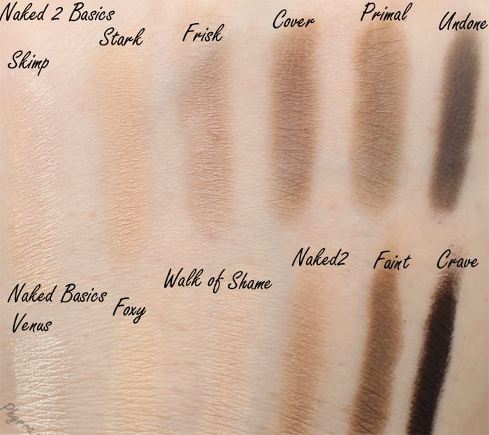 Urban Decay Naked 2 Basics compared to Naked Basics Swatches Review
