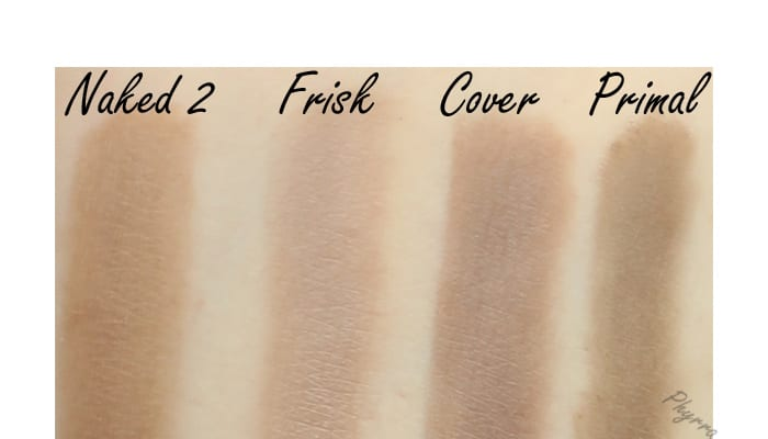 Urban Decay Naked 2, Frisk, Cover, Primal, Swatches, Review, Comparison