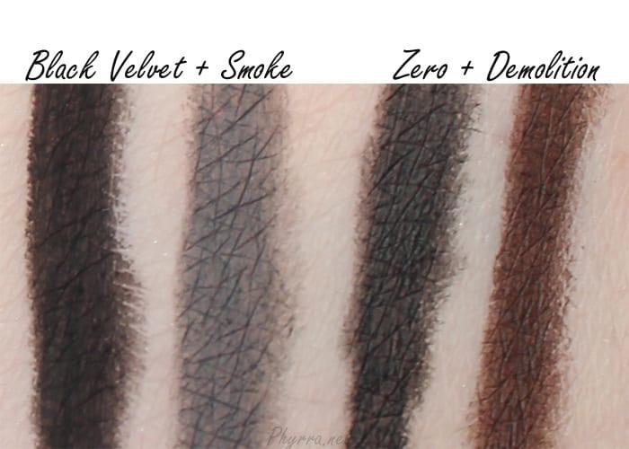 Urban Decay Black Magic Black Velvet, Smoke, Zero, Demolition, Swatches Review