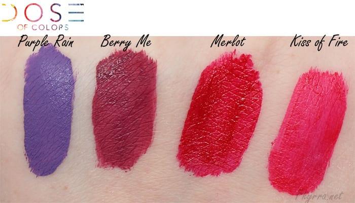 Dose of Colors Matte Liquid Lipsticks Swatches Purple Rain, Berry Me, Merlot, Kiss of Fire