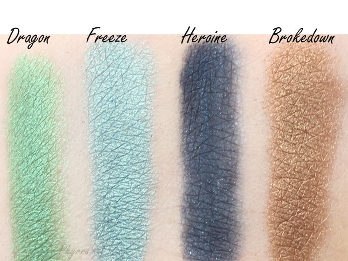 Urban Decay Vice 3 Dragon, Freeze, Heroine, Brokedown, Review, Swatches, Video