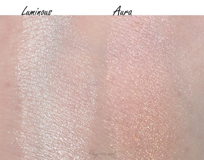 Urban Decay Naked Illuminated in Luminous and Aura Swatches Comparison