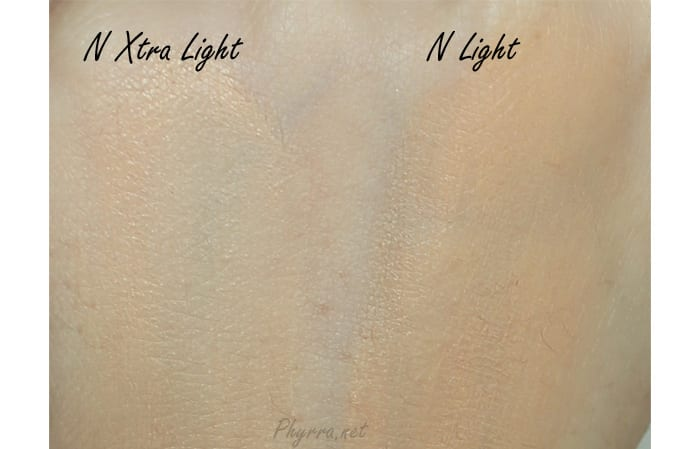 Cove FX CC Cream in N Xtra Light and N Light Swatches