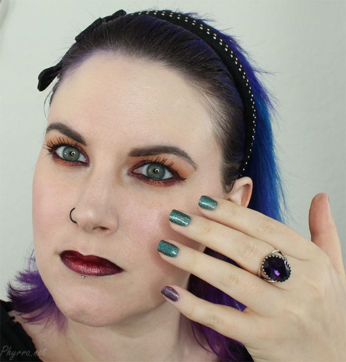 Wearing my Bunny Paige Purple Velvet ring with Literary Lacquers Je Reviens