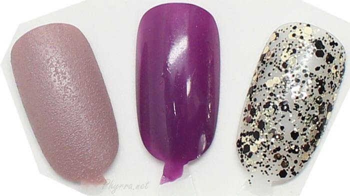 Nails in Alexa Cashmere, Alexa Sequin, Glouchester Walk Swatches