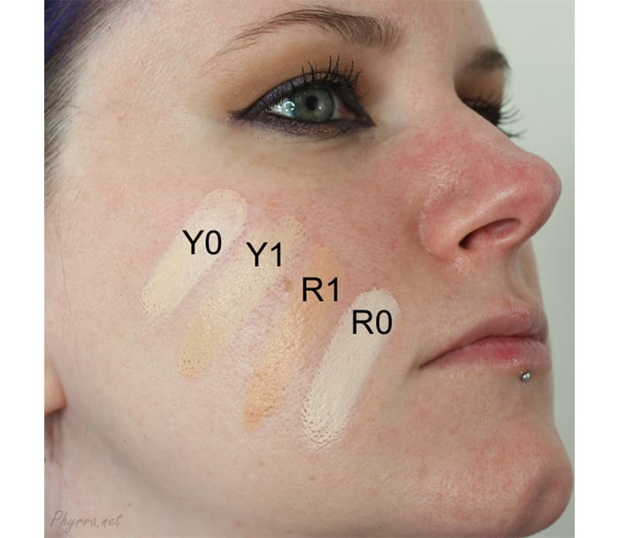 Obsessive Compulsive Cosmetics Skin Conceal Swatches in Y0, Y1, R0, R1