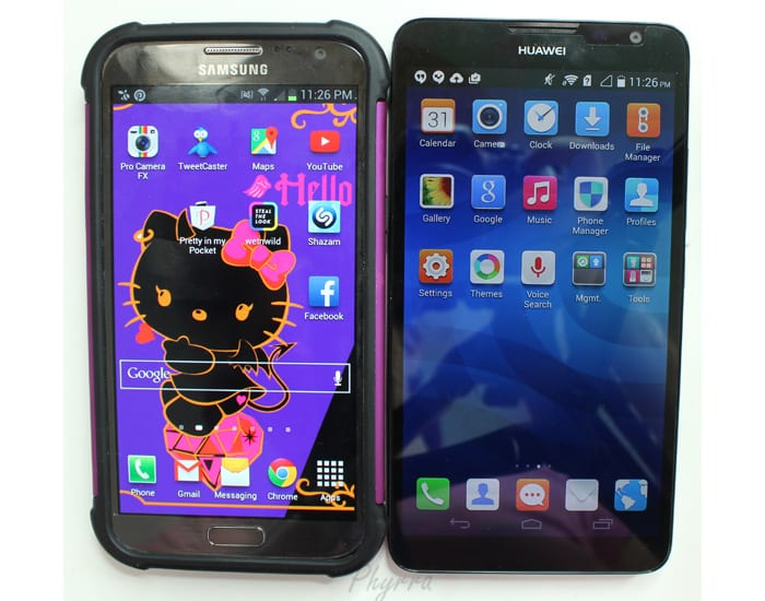 Huawei Ascend Mate 2 Smart Phone, next to my Samsung Galaxy Note 2