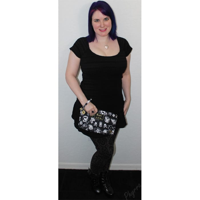 Black Tunic Dress with Dark Brown Leggings