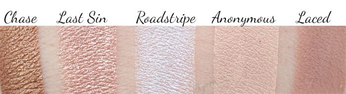 Urban Decay Vice LTD Chase - Last Sin - Roadstripe - Anonymous - Laced swatches
